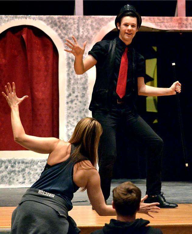 ". Neil Devlin follows choreographer Jaimie Lipskin during a rehearsal for the YSTC musical production, \""Pippin,\"" Dec. 11, 2017. (Bob Raines/Digital First Media)"