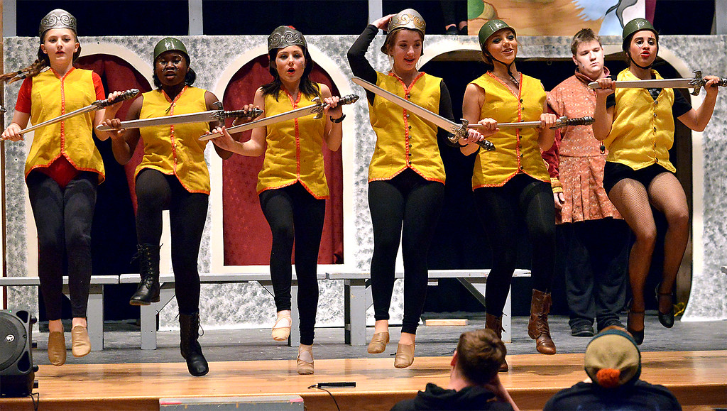 """. The ensemble rehearses the dance routine for, \""""War is a Science,\"""" as YSTC prepares for, \""""Pippin,\"""" Dec. 11, 2017. (Bob Raines/Digital First Media)"""