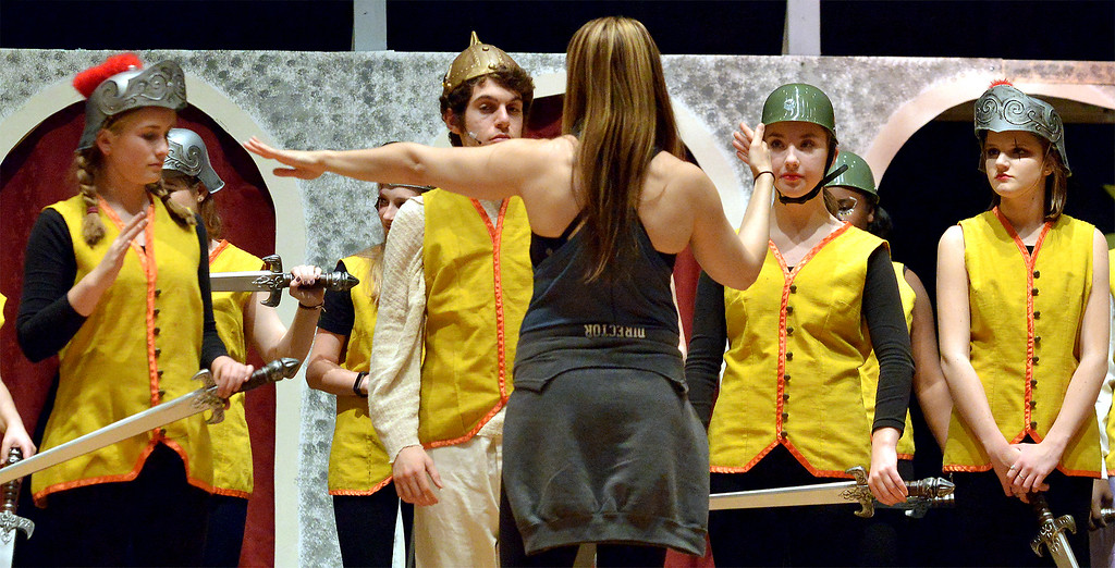". Choreographer Jamie Lipskin coaches a dance routine in the YSTC production, \""Pippin\"" Dec. 11, 2017. (Bob Raines/Digital First Media)"
