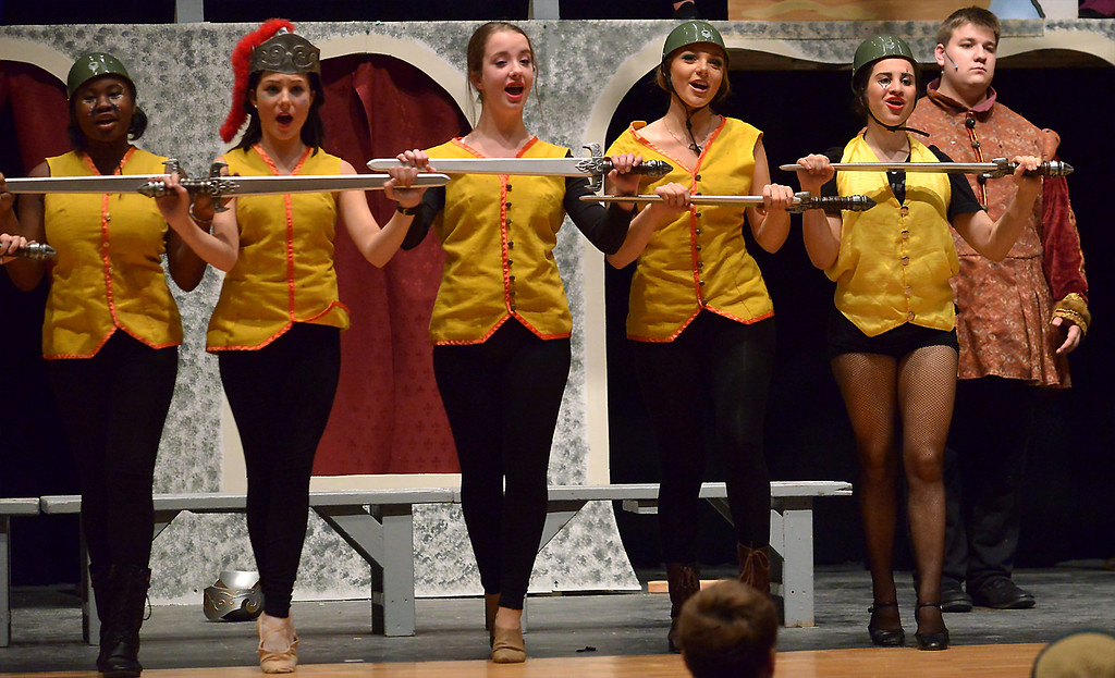 """. Soldiers dance to Charlemagne\'s tune in, \""""War is a Science,\"""" during a rehearsal for the YSTC musical production, \""""Pippin,\"""" Dec. 11, 2017. (Bob Raines/Digital First Media)"""