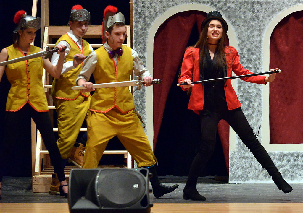 """. One of the Leading Players, Juliet Kennedy, leads a group of soldiers onstage in, \""""Glory,\"""" as YSTC prepares for, \""""Pippin,\"""" Dec. 11, 2017. (Bob Raines/Digital First Media)"""