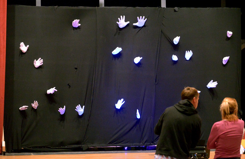 """. What the floating hands illusion looks like under the house lights instead of the black lights as YSTC rehearses for, \""""Pippin,\"""" Dec. 11, 2017. (Bob Raines/Digital First Media)"""