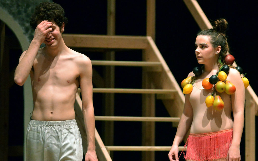 . Pippin (Joe Correale), losing his taste for war, tries to lose himself in sensual pleasure, only to lose his line in this scene with a Carmen Miranda knock-off from the dance ensemble Dec. 11, 2017. (Bob Raines/Digital First Media)