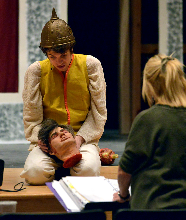 """. The severed head of a Visigoth enemy speaks to Pippin (Joe Correale) leading him to find a new direction in life as YSTC prepares for, \""""Pippin,\"""" Dec. 11, 2017. (Bob Raines/Digital First Media)"""