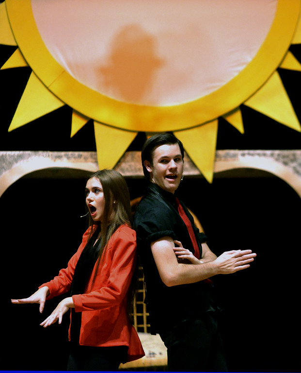 . Leading players Juliet Kennedy and Neil Devil usher in the pleasure phase of Pippin\'s search for meaning. YSTC is in rehearsal for their fall production Dec. 11, 2017. (Bob Raines/Digital First Media)