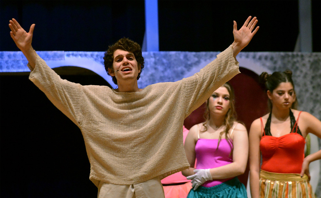 """. Pippin (Joe Correale), son of Holy Roman Emperor Charlemagne, complains that he has no grand purpose in life, despite having a university education, as the cast rehearses the YSTC production, \""""Pippin,\"""" Dec. 11, 2017. (Bob Raines/Digital First Media)"""