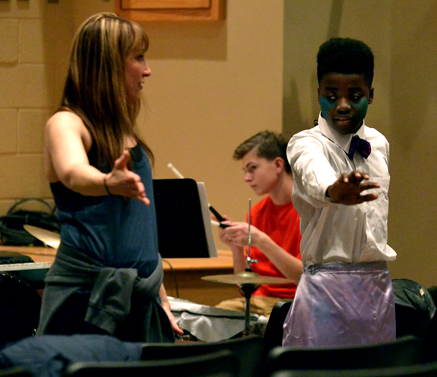 ". Ensemble player Taraji Ellington gets some help with his routine from choreographer Jaimie Lipskin as YSTC prepares for, \""Pippin,\"" Dec. 11, 2017. (Bob Raines/Digital First Media)"