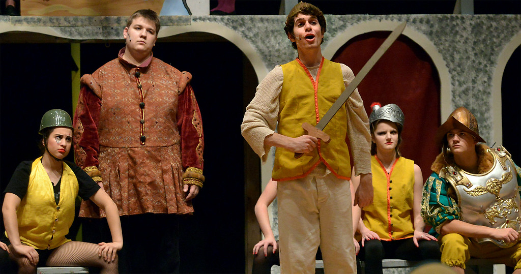 """. Pippin (Joe Correale), son of Holy Roman Emperor Charlemagne (Steven Rimdzius), left, wants to prove himself by joining in the slaughter of the Visigoths, during a rehearsal for the YSTC musical production, \""""Pippin,\"""" Dec. 11, 2017. (Bob Raines/Digital First Media)"""