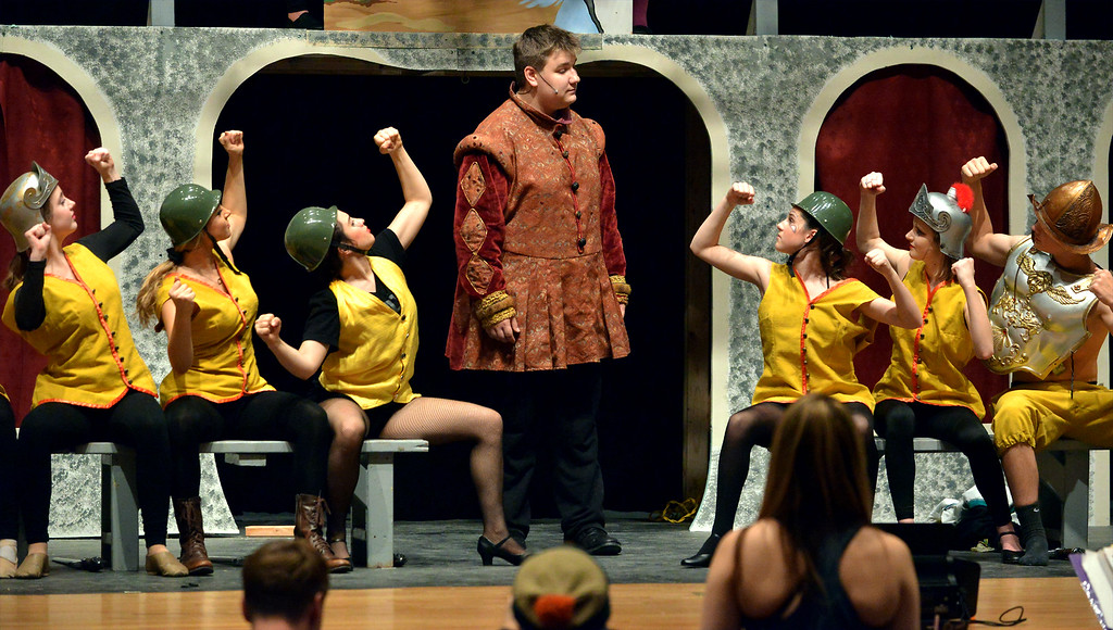 """. Charlemagne (Steven Rimdzius) exhorts his troops to defeat the Visigoths in, \""""War is a Science,\"""" as YSTC prepares for, \""""Pippin,\"""" Dec. 11, 2017. (Bob Raines/Digital First Media)"""