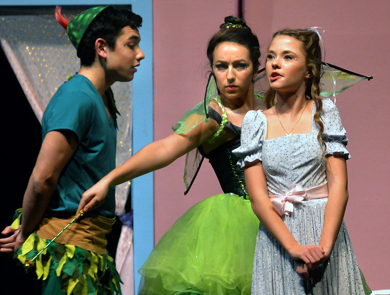 A jealous Tinker Bell (Lauren Taylor) tries to keep a smitten Peter Pan (Sam Caplan) from getting too close to Wendy (Sadie Gustafson ).  (Bob Raines--Digital First Media)