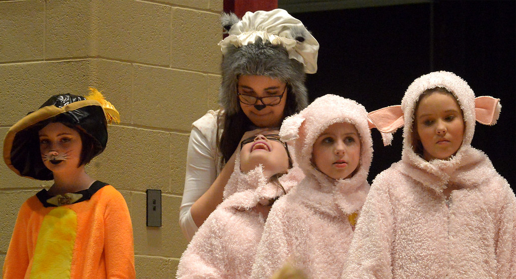 ". Bob Raines-- Digital First Media //  Puss \'n Boots (Vivian Wiemelt), Big Bad Wolf (Grace Toriello) and the Three Little Pigs (Izzy Shotel, Chloe Herron, Katie O\'Halloran) wait for director Judy Starr Pezola to make changes in a scene at the Apr. 11, 2016 rehearsal of Young Starrs Theater Company production, ""Shrek the Musical, Jr.\"""