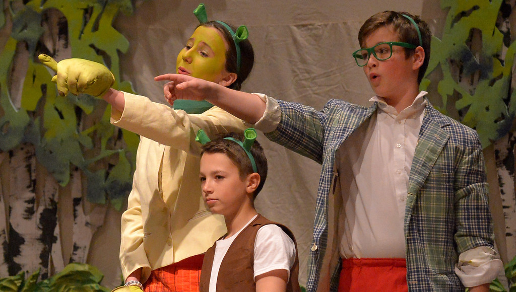 ". Bob Raines-- Digital First Media //  Young Shrek (Alex Brereton) is sent out into the world to seek his own swamp by Mother and Father Ogre (Katie Brady-Gold and Eric Lewis) during the Apr. 11, 2016 rehearsal for the Young Starrs Theater Company production of, ""Shrek The Musical, Jr.\"""
