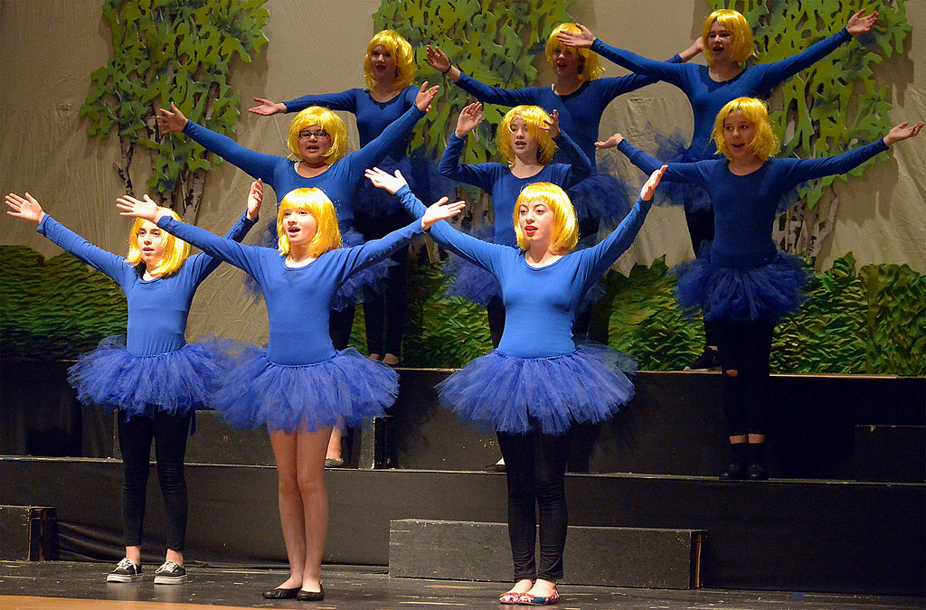 ". Bob Raines-- Digital First Media //  Lord Farquaad\'s Duloc Dancers sing his praises during the Apr. 11, 2016 rehearsal for the Young Starrs Theater Company production of ""Shrek, The Musical, Jr.\"""