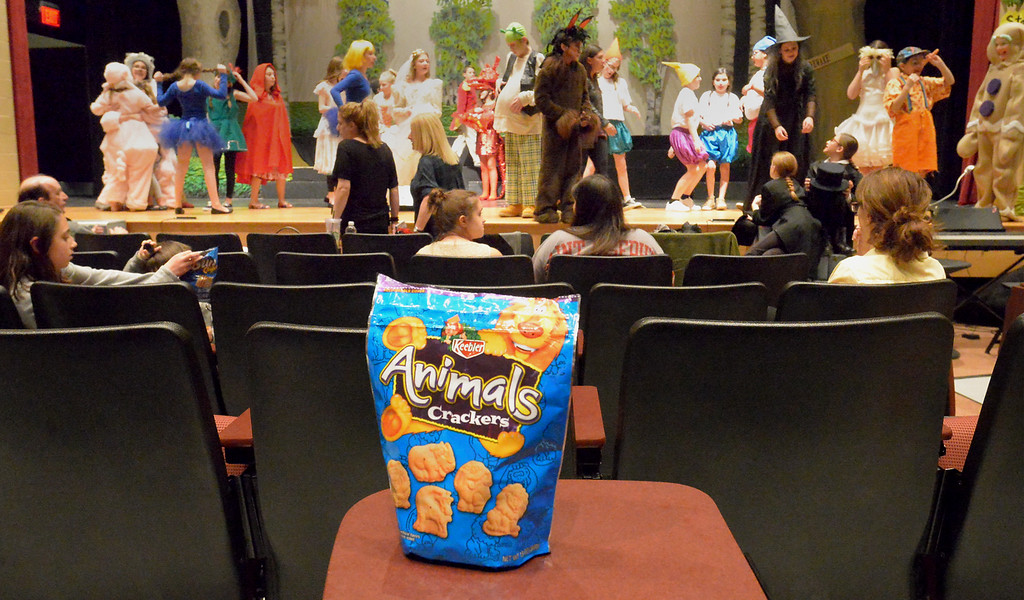 ". Bob Raines-- Digital First Media //  One young actor left behind a bag of Animals crackers, the ""Breakfast of Thespians,\"" when called to the stage during the Apr. 11, 2016 rehearsal for the Young Starrs Theater Company production of, \""Shrek he Musical, Jr.\"""