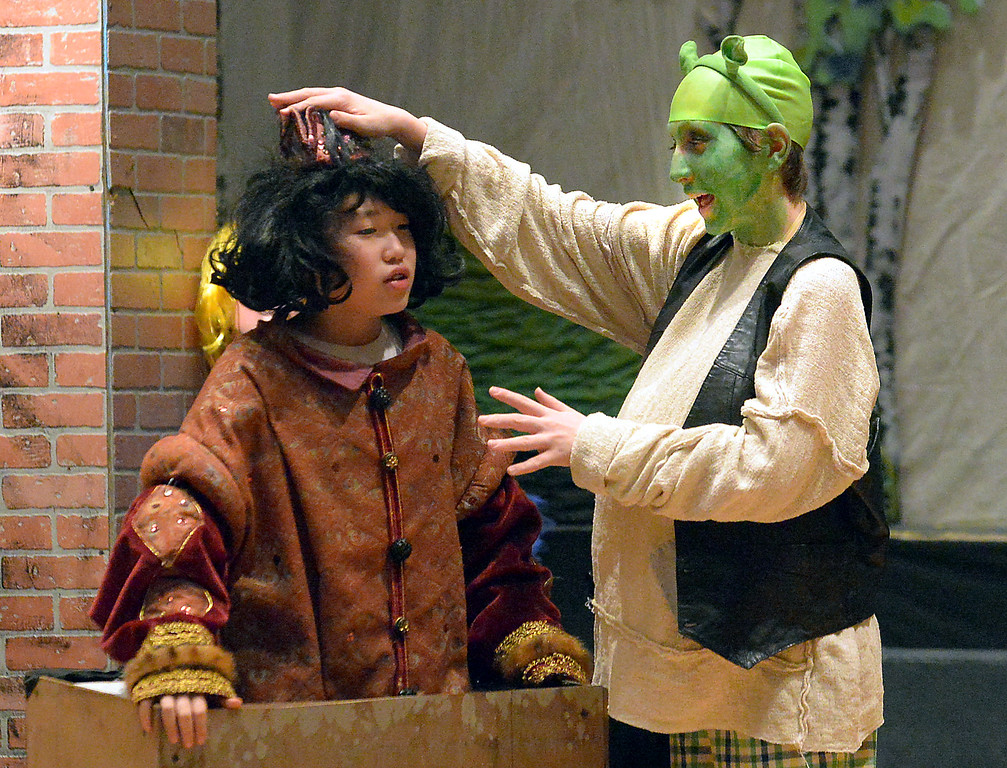 ". Bob Raines-- Digital First Media //  Shrek (Jason De Mets) pats the arrogant Lord Farquaad (Peter Liu) dismissively on the head during the Apr. 11, 2016 rehearsal for the Young Starrs Theater Company production of ""Shrek, The Musical, Jr.\"""