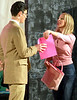 "Bob Raines--Digital First Media // <br /> Elle Woods (Sarah Hodgson) hands her resume to Harvard Law School's resident ogre, Professor Callahan (Patrick Daniels) after vanquishing her former boyfriend, Warner, in a classroom debate. in, ""Legally Blonde,"" April 25, 2016. They are rehearsing for the Young Starrs Theater Company's production of, ""Legally Blonde."""