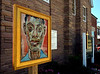 "Bob Raines--Digital First Media  |  <br /> ""Portrait of James Baldwin,"" stands in front of Salem Baptist Church  Aug. 13, 2016. This is one of 13 art works placed around Jenkintown as part of the Philadelphia Art Museum program, Inside Out."