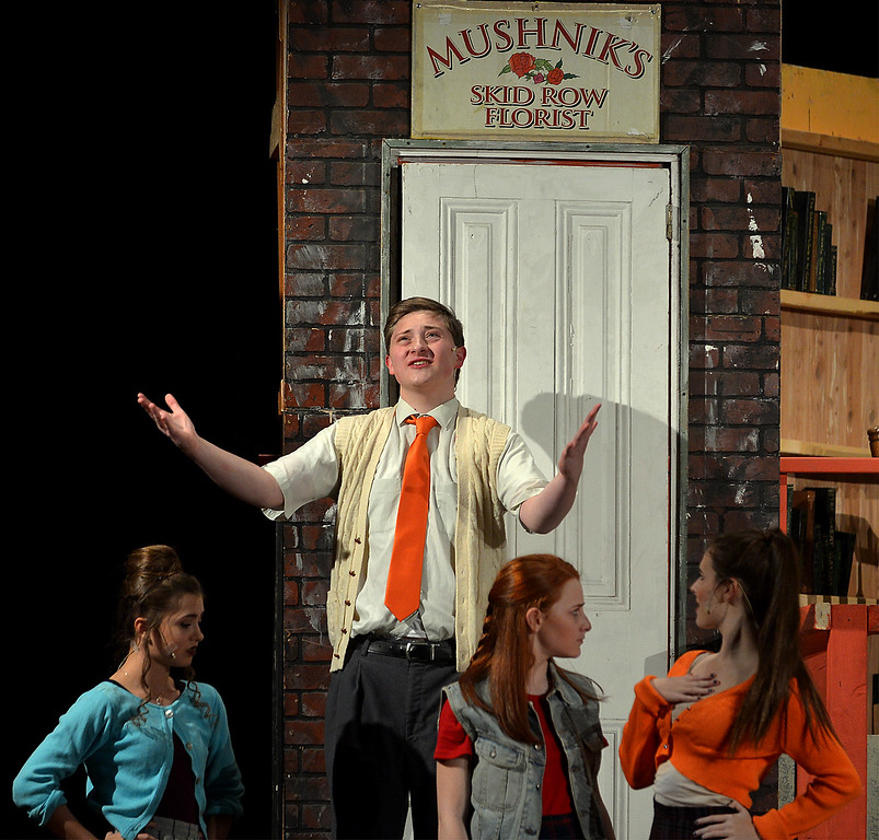 . Mr. Mushnik (Jeff Pfeiffer) complains about trying to run a business on Skid Row as he tries to roust street urchins Ruby (Juliet Kennedy), Ronnette (Adriana Novello) and Chiffon (Jacey Mellon) from his front stoop.   |   Bob Raines--Digital First Media