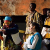 """Rafiki (Bailey Rifkin), the shaman, prepares to show Simba to the animals surrounding Pride Rock during the Mar. 9, 2016  rehearsal for the Sandy Run Middle School production of """"Lion King, Jr."""" Mufasa (Zach Ford) and Sarabi (Cecily Johnson) stand rear. Zazu (Ma'ayan Shahar), Mufasa's majordomo, stands to the right. // Bob Raines--Digital First Media"""