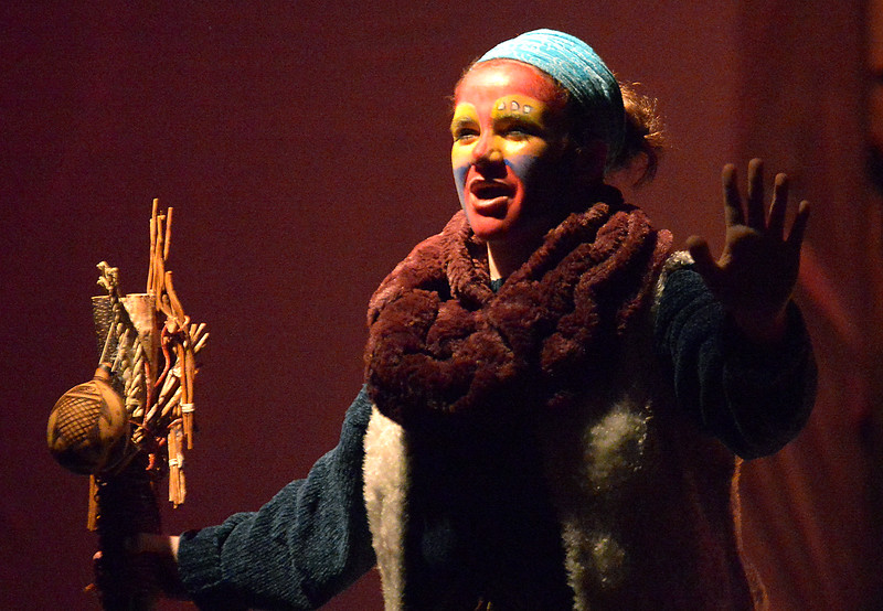 """Rafiki (Bailey Rifkin) the shaman calls the animals to Pride Rock to celebrate the birth of Mufasa's son, Simba during rehearsal for the Sandy Run Middle School production of """"Lion King, Jr"""" Mar. 9, 2016. // Bob Raines--Digital First Media"""
