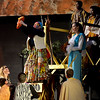 """Rafiki (Bailey Rifkin), the shaman, holds up the king's son, Simba, for all to see during the Mar. 9, 2016  rehearsal for the Sandy Run Middle School production of """"Lion King, Jr."""" Mufasa (Zach Ford) and Sarabi (Cecily Johnson) stand to the right, rear. Zazu (Ma'ayan Shahar), Mufasa's majordomo, stands to the right. // Bob Raines--Digital First Media"""