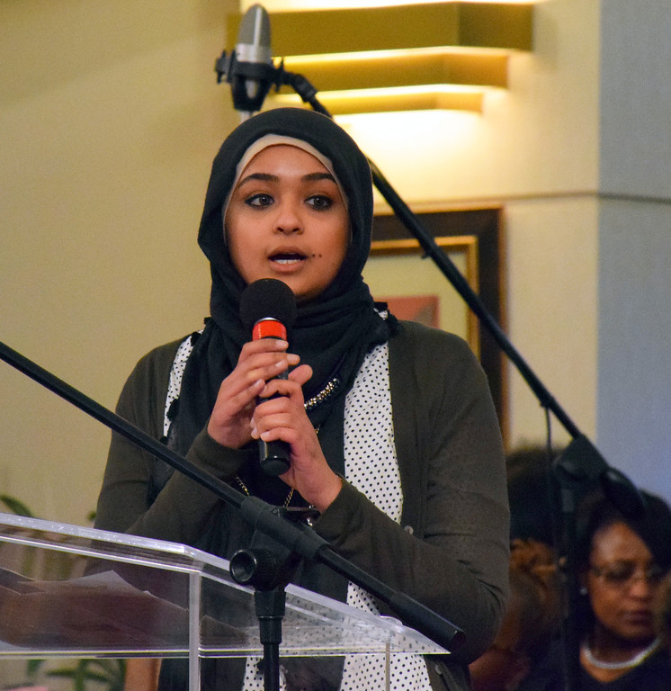 . Sharika M. Shah, of the North Penn Mosque, shares remarks on justice from the Koran the Wissahickon Faith Community\'s 21st annual communitywide service Jan. 15. Debby High - For Digital First Media