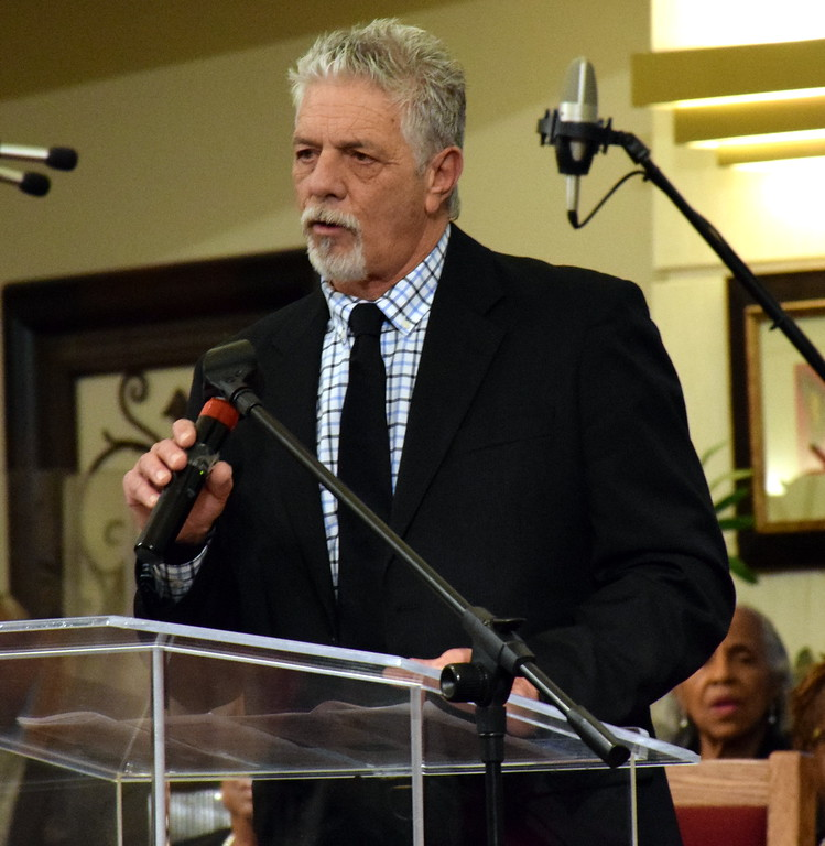 . Robert Kreamer receives the Interfaith award at the Wissahickon Faith Community\'s 21st annual communitywide service Jan. 15. Debby High - For Digital First Media