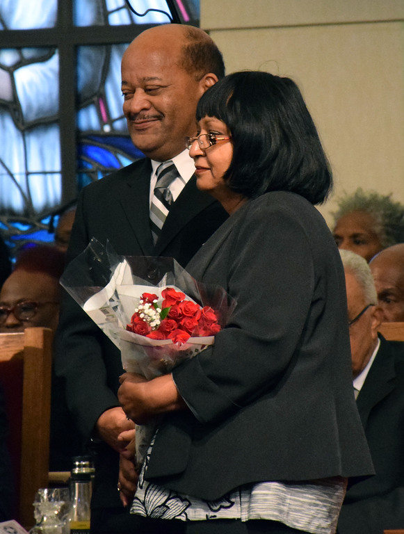 . James and Sheila Wallace receive the Keeper of the Dream Award at the Wissahickon Faith Community\'s 21st annual communitywide service Jan. 15. Debby High - For Digital First Media