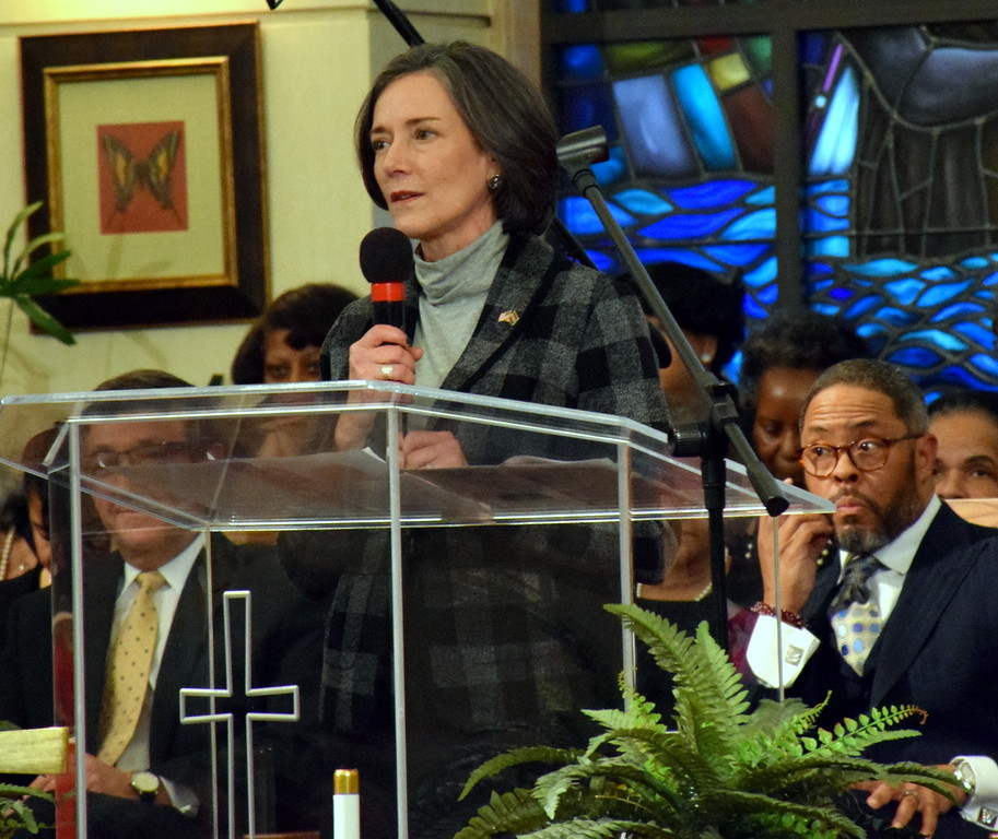 . Montgomery County Commissioner sChairwoman Dr. Valerie Arkoosh speaks after receiving the Justice and Peace Award at the Wissahickon Faith Community\'s 21st annual communitywide service Jan. 15. Debby High - For Digital First Media