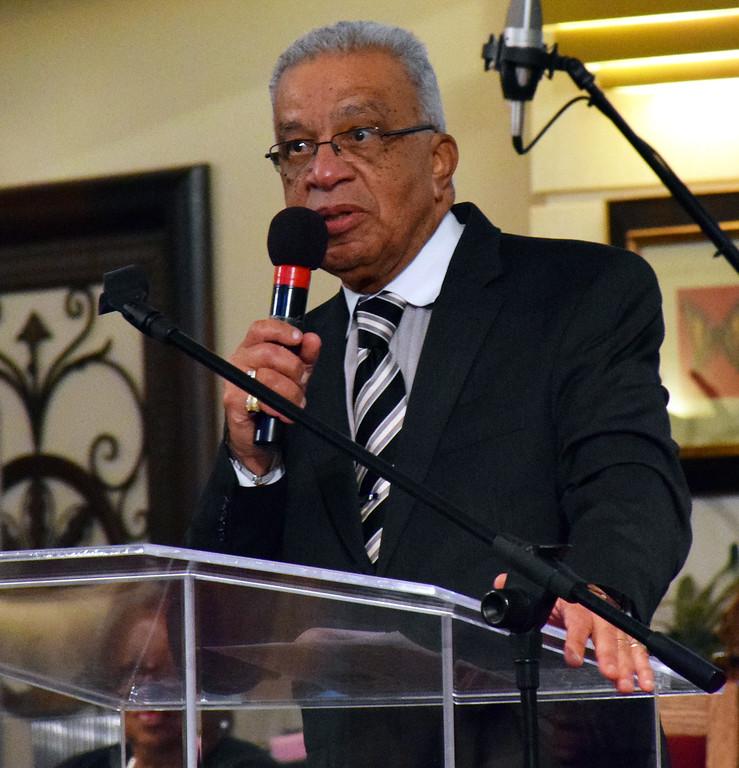 . The Rev. Charles W. Quann, pastor of Bethlehem Baptist Church, leads the Wissahickon Faith Community\'s 21st annual communitywide service Jan. 15. Debby High - For Digital First Media