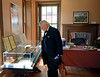 David Klinepeter, portraying Civil War Governor Andrew Curtin, looks at artifacts in the Montgomery Cemetery museum before the Historical Society of Montgomery County Memorial Day Observance  May 28, 2016. / BOB RAINES--DIGITAL FIRST MEDIA