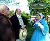 Reenactors in Civil War-era clothing wait in the shade for the Montgomery Historical Society Memorial Day observance May 28, 2016. / BOB RAINES--DIGITAL FIRST MEDIA