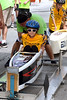 Adriana Hopple squeezes into the tight cockpit of her car at the starting gate during the Indian Valley Soap Box Derby on Main St., Souderton June 4, 2016. / BOB RAINES--DIGITAL FIRST MEDIA