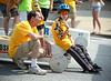 Logan McCormick talks with his dad, Patrick, as he waits until he can move forward to the starting gate during the Indian Valley Soap Box Derby on Main St., Souderton June 4, 2016. / BOB RAINES--DIGITAL FIRST MEDIA