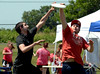 Mike Yacovelli, left, and Josh Moore of the Arcadia Knights team vie for a frisbie on the infield at the North Penn Relay for Life June 18, 2016. __ BOB RAINES--DIGITAL FIRST MEDIA