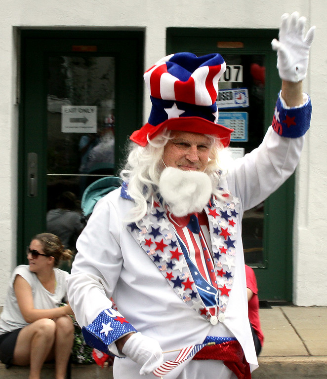. Lee Ford portrays Uncle Sam in the North Wales Independence Day Parade July 4, 2016. _ Bob Raines | Digital First Media