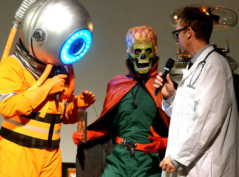 Mr. Lobo, left, and Dr. Frank N. Stone, right, discuss King of the Martians' book at Blobfest July 8, 2016. _ Bob Raines | Digital First Media