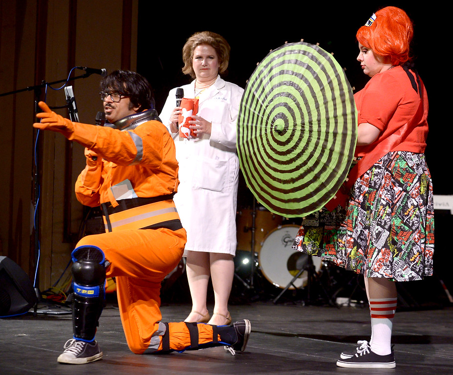 . Emcee Mr. Lobo opens the Blobfest show with the assistance of Dixie Dellamorto, Miss Blobfest 2015, right, and Dr. Ima Hack July 8, 2016. _ Bob Raines | Digital First Media