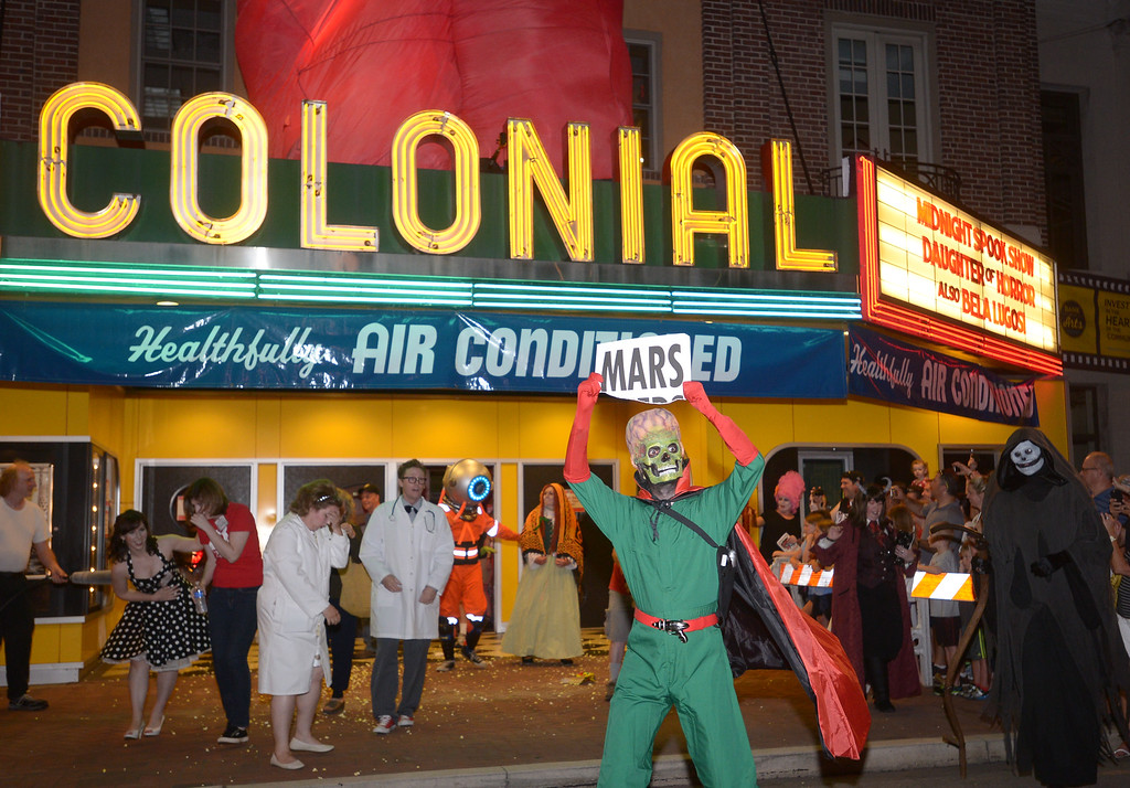 . The King of Mars looks for applause outside the Colonial Theater, Phoenixville during Blobfest July 8, 2016 _ Bob Raines | Digital First Media