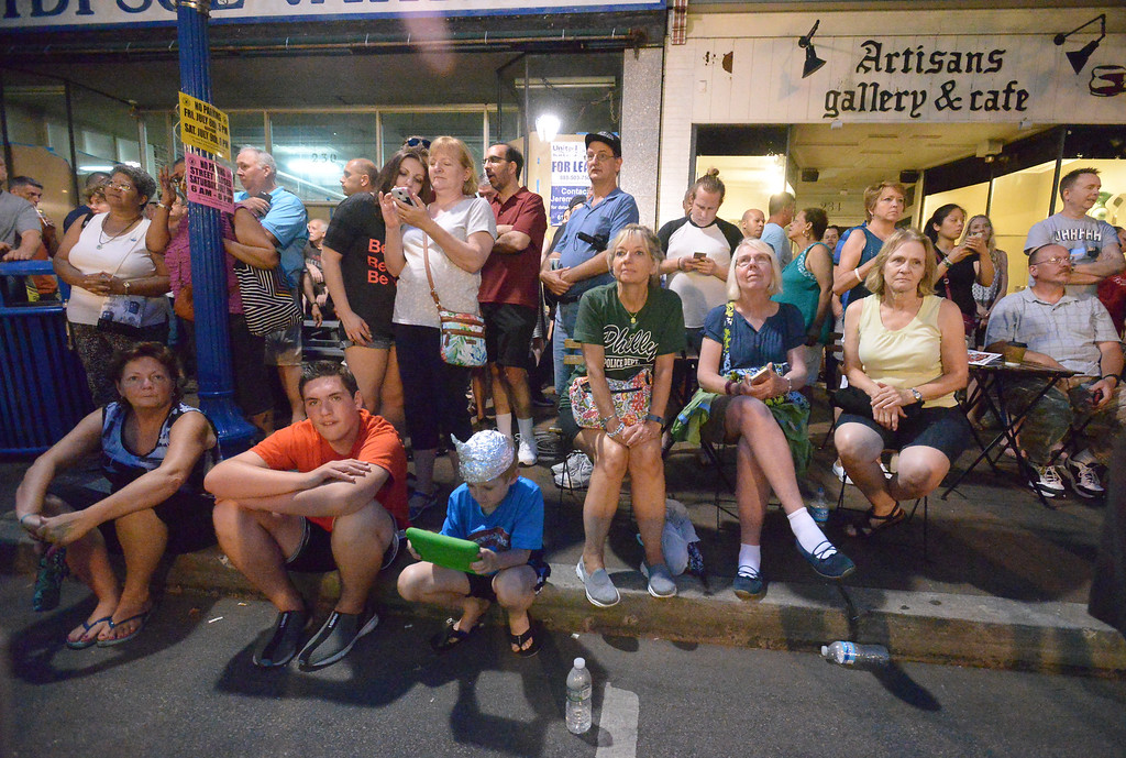 . A crowd waits across the street from the Colonial Theater to watch the run-out at Blobfest 2016. The run-out at the 2016 Blobfest at the Colonial Theater, Phoenixville July 8, 2016._ Bob Raines | Digital First Media