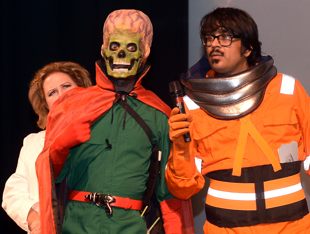 . Mr. Lobo, right, emcee for Blobfest, interviews King of the Martians July 8, 2016. _ Bob Raines | Digital First Media