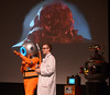 Dr. Frank N. Stone, right and Mr. Lobos talk about sci-fi movies at Blobfest 2016 at the Colonial Theater, Phoenixville July 8, 2016.projected behind them is The Blob._ Bob Raines | Digital First Media