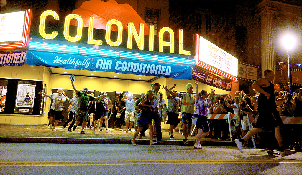 """. The re-enactment at the Colonial Theater, Phoenixville, of the runout scene in the 1958 sci-fi movie, \""""The Blob.\"""" _ Bob Raines 