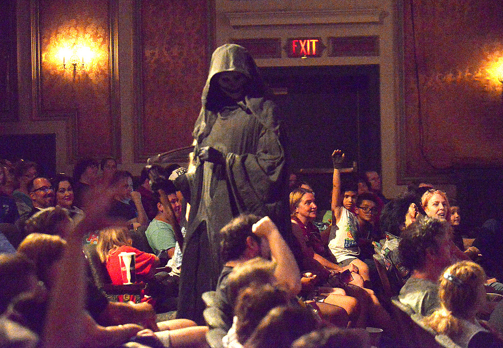 . Grim Reaper prowls through the audience looking for volunteers for the screaming contest during Blobfest 2016 at the Colonial Theater, Phoenixville July 8, 2016._ Bob Raines | Digital First Media