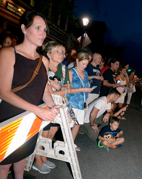 A crowd gathers outsie the Colonial Theater, Phoenixville to watch the run-out at Blobfest 2016. The run-out at the 2016 Blobfest at the Colonial Theater, Phoenixville July 8, 2016._ Bob Raines | Digital First Media