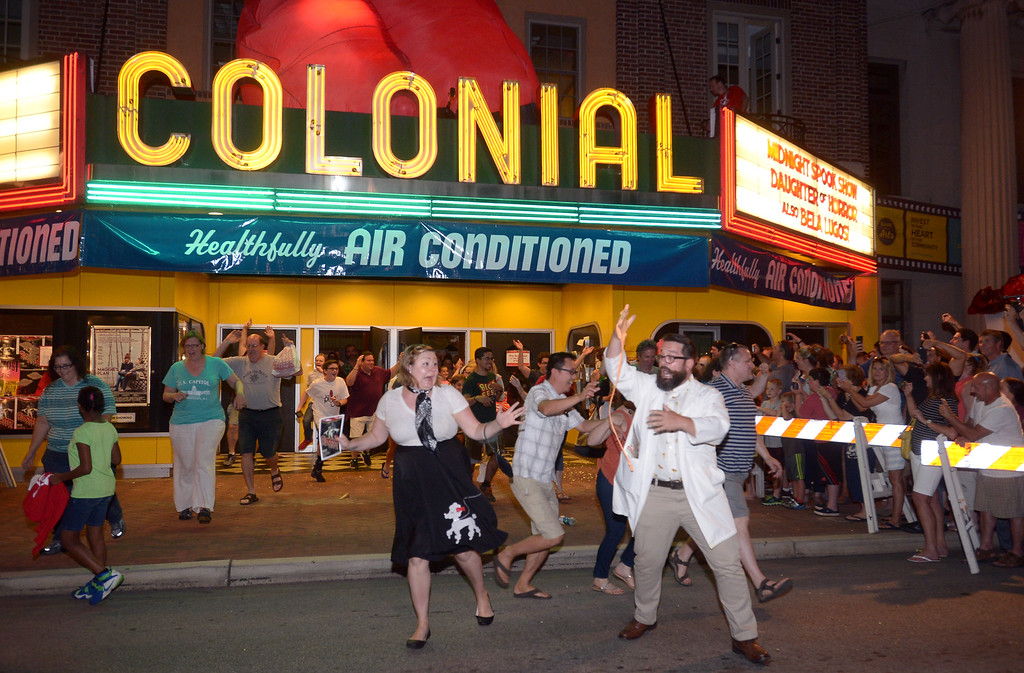 ". The re-enactment at the Colonial Theater, Phoenixville, of the runout scene in the 1958 sci-fi movie, ""The Blob.\"" _ Bob Raines 