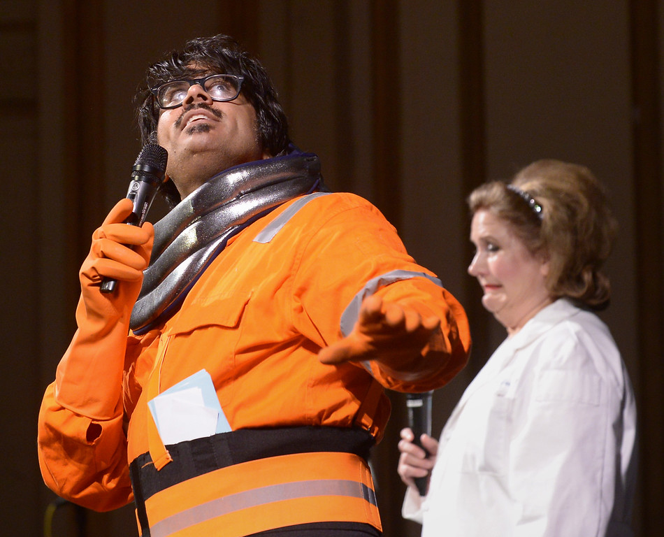 . Emcee Mr. Lobo sets the tone of campy weirdness as he opens the Blobfest show July 8, 2016. In the background Dr. Ima Hack looks troubled. _ Bob Raines | Digital First Media
