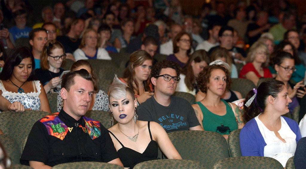 . Two audience members chat before the Blobfest show begins July 8, 2016. _ Bob Raines | Digital First Media