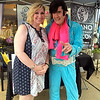 Debby High — For Digital First Media<br /> Denise Tiano Costello is surprised by a visit from Elvis in front of her salon, Tiano Costello's Tiano Hair & Beauty Salon.