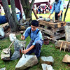 Stonecutters Patrick Kijek, front, and Rich Klase, demonstrate cobblestone making at the Goschenhoppen Folk Festival Aug. 12, 2016.  |  BOB RAINES--DIGITAL FIRST MEDIA
